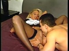 Blonde Maid Cleans Dude s Pipe Of All His Cum