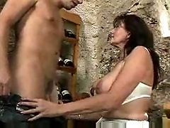 Fucking his busty stepmother in the wine cellar F70