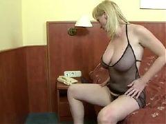 Blonde busty mature interracial