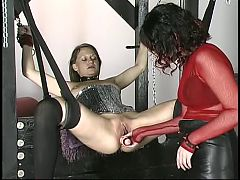Bound busty brunette sex slave is pierced with an anal plug in dungeon 10 14